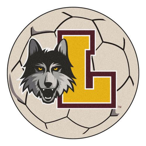 """27"""" Black and Yellow NCAA Loyola University Chicago Ramblers Soccer Ball Mat Round Area Rug - IMAGE 1"""