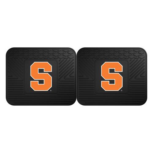 "Set of 2 Black and Orange NCAA Syracuse University Orange Heavy Duty Rear Car Floor Mats 14"" x 17"" - IMAGE 1"