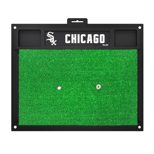 "20"" x 17"" Black and Green MLB Chicago White Sox Golf Hitting Mat - IMAGE 1"
