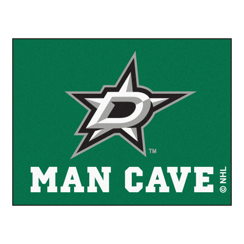 """33.75"""" x 42.5"""" Green and White NHL Dallas Stars """"Man Cave"""" Door Mat - IMAGE 1"""