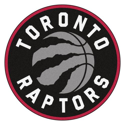 """27"""" Black and Red NBA Toronto Raptors Rounded Door Mat - IMAGE 1"""