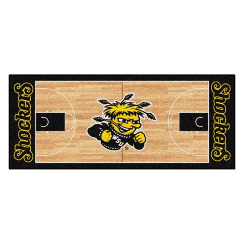 "30"" x 72"" Beige and Black NCAA Wichita State University Shockers Area Throw Rug Runner - IMAGE 1"