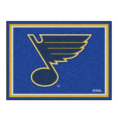 8' x 10' Navy Blue and Yellow NHL St. Louis Plush Non-Skid Area Rug - IMAGE 1