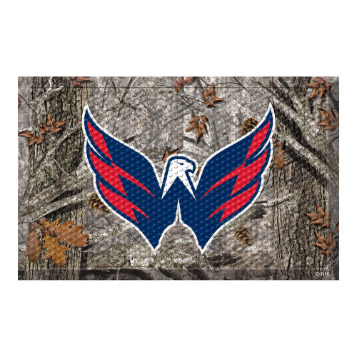"19"" x 30"" Gray and Blue NHL Washington Capitals Scraper Rectangular Door Mat - IMAGE 1"
