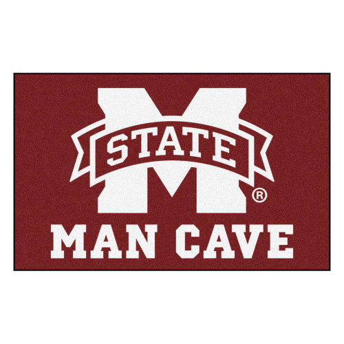 4.9' x 7.8' Red and White NCAA Mississippi State University Bulldogs Man Cave Rectangular Area Rug - IMAGE 1