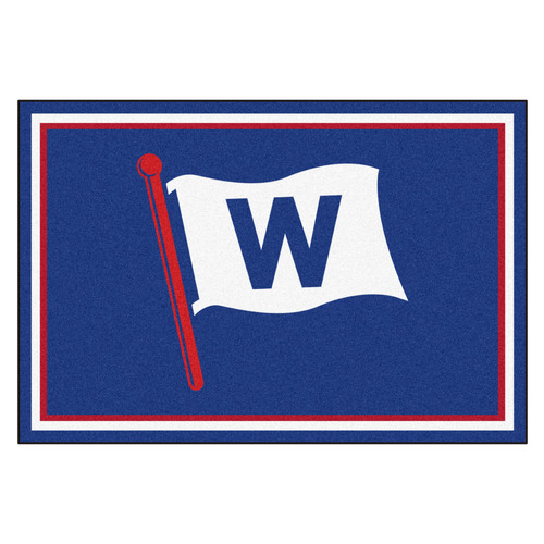 4.9' x 7.3' Blue and White MLB Chicago Cubs Rectangular Plush Area Rug - IMAGE 1