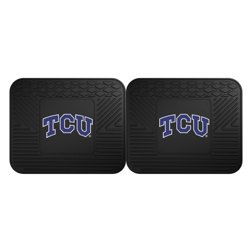 """Set of 2 Black and Blue NCAA Texas Christian University Horned Frogs Car Utility Mat 14"""" x 17"""" - IMAGE 1"""