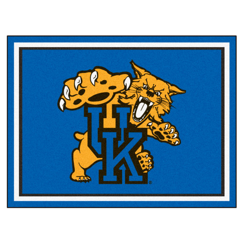 7.25' x 9.75' Blue and Yellow NCAA University of Kentucky Wildcats Ultra Plush Non-Skid Area Rug - IMAGE 1