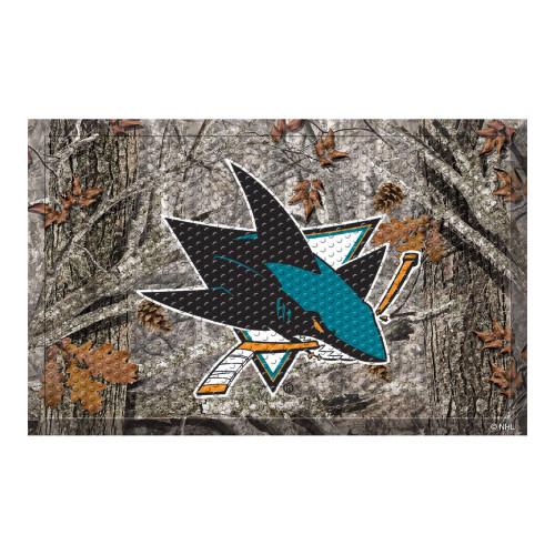 "19"" x 30"" Brown and Teal Blue NHL San Jose Sharks Shoe Scraper Doormat - IMAGE 1"