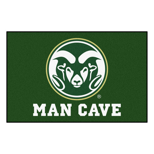 "19"" x 30"" White and Green NCAA Rams Man Cave Starter Rectangular Mat Area Rug - IMAGE 1"