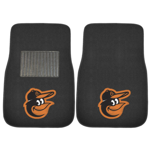 """Set of 2 Black and Orange MLB Baltimore Orioles Embroidered Front Car Mats 17"""" x 25.5"""" - IMAGE 1"""