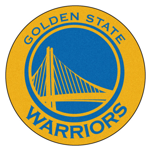 """27"""" Blue and Yellow NBA Golden State Warriors Rounded Door Mat - IMAGE 1"""