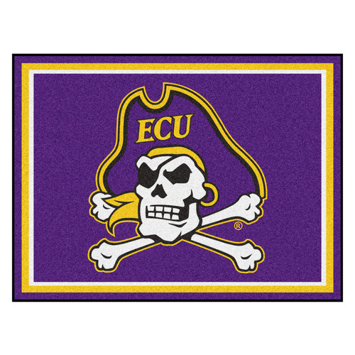7.25' x 9.75' White and Yellow NCAA East Carolina University Pirates Plush Area Rug - IMAGE 1