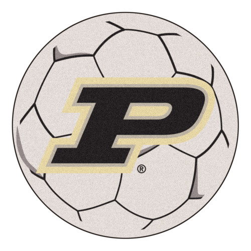 """27"""" Gray and Black NCAA Purdue University Boilermakers Soccer Ball Mat Round Area Rug - IMAGE 1"""