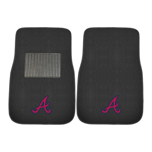 "Set of 2 Black MLB Atlanta Braves Embroidered Front Car Mats 17"" x 25.5"" - IMAGE 1"