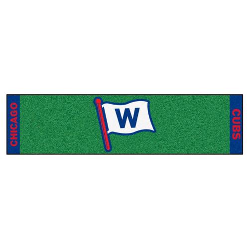 "18"" x 72"" Green and Blue MLB Chicago Cubs Rectangular Golf Putting Mat - IMAGE 1"