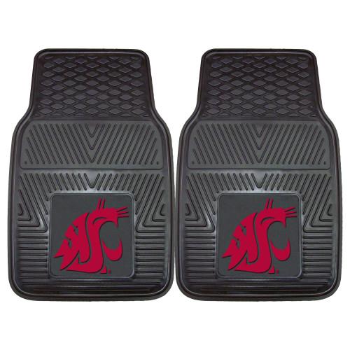 "Set of 2 Black and Red NCAA Washington State University Cougars Car Mats 17"" x 27"" - IMAGE 1"
