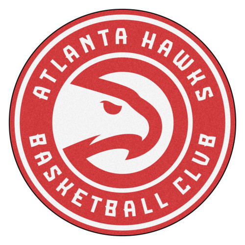 """27"""" Red and White NBA Atlanta Hawks Rounded Door Mat - IMAGE 1"""