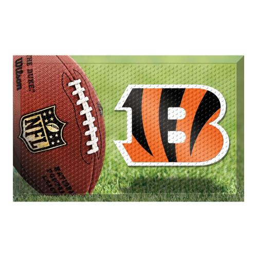 """19"""" x 30"""" Brown and Orange NFL Cincinnati Bengals Shoe Scraper Door Mat - IMAGE 1"""