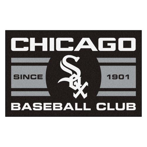 """19"""" x 30"""" Black and White MLB Chicago White Sox Starter Mat Rectangular Area Rug - IMAGE 1"""