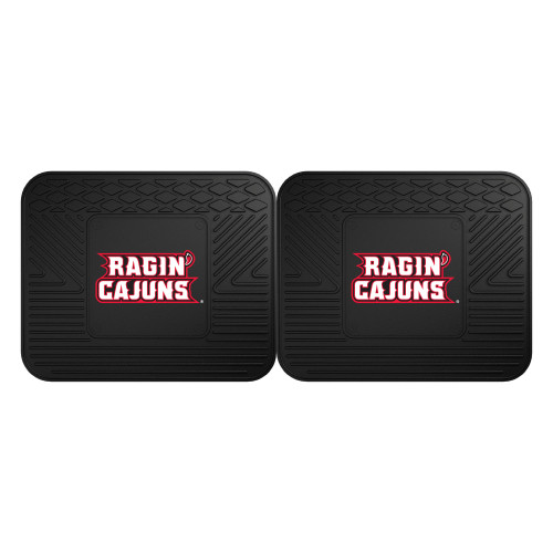 "Set of 2 Red and White NCAA University of Louisiana-Lafayette Ragin' Cajuns Floor Mats 14"" x 17"" - IMAGE 1"