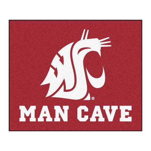"59.5"" x 71"" Red and White NCAA Washington State University Cougars Rectangular Mat Area Rug - IMAGE 1"