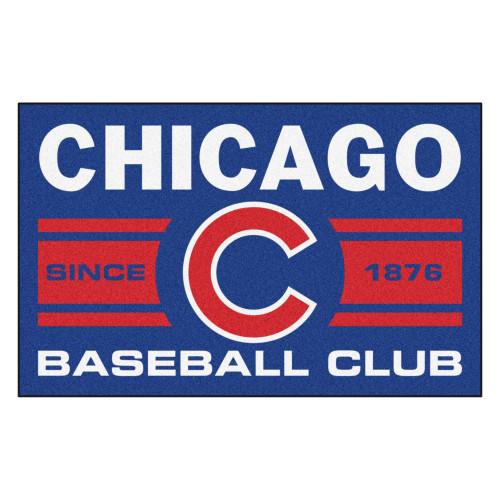 "19"" x 30"" Blue and White MLB Chicago Cubs Starter Mat Rectangular Area Rug - IMAGE 1"