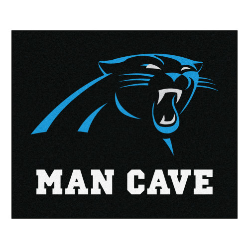 """59.5"""" x 71"""" Black and White NFL Carolina Panthers """"Man Cave"""" Tailgater Area Rug - IMAGE 1"""