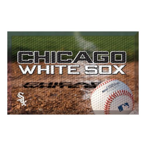 "Black and White MLB Chicago White Sox Shoe Scraper Doormat 19"" x 30"" - IMAGE 1"