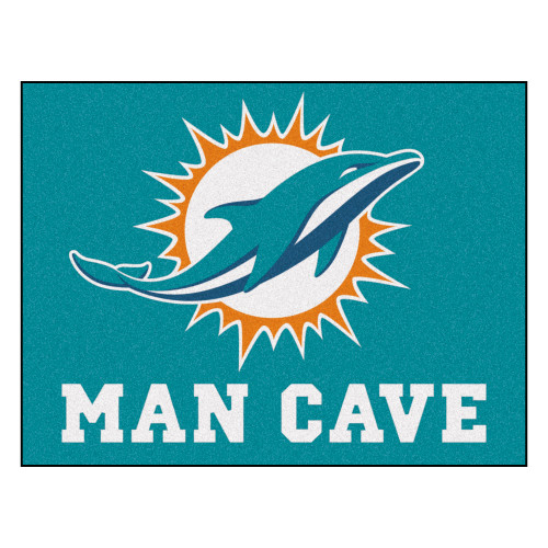 """33.75"""" x 42.5"""" Blue and White NFL Miami Dolphins Man Cave All-Star Rectangular Mat Area Rug - IMAGE 1"""