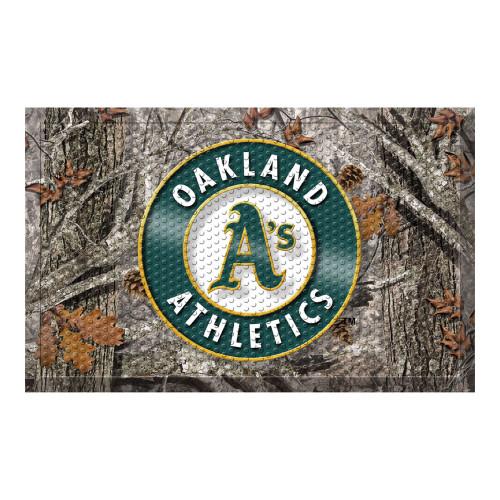 """Green and Gray MLB Oakland Athletics Shoe Scraper Doormat 19"""" x 30"""" - IMAGE 1"""