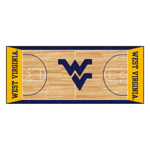 """30"""" x 72"""" Ivory and Yellow NCAA West Virginia Basketball Non-Skid Mat Area Rug Runner - IMAGE 1"""