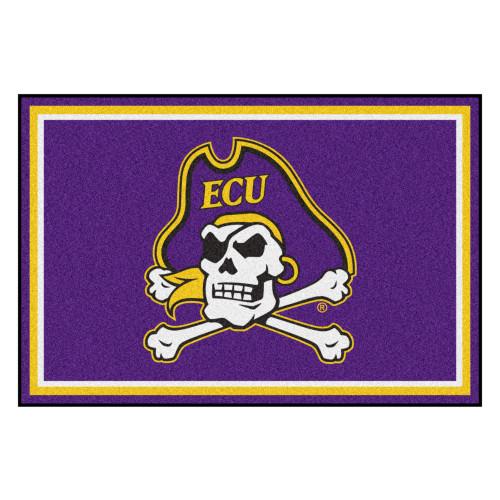 4.9' x 7.3' Blue NCAA East Carolina University Pirates Plush Area Rug - IMAGE 1