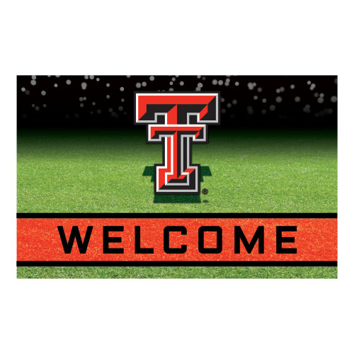 """18"""" x 30"""" Green and Black Contemporary NCAA Red Raiders Outdoor Door Mat - IMAGE 1"""