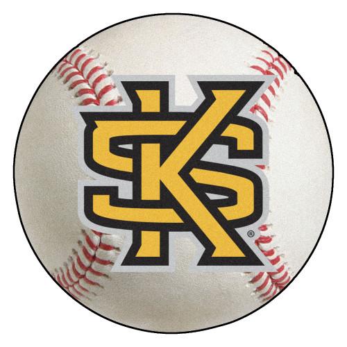 "27"" White and Yellow NCAA Kennesaw State University Owls Baseball Round Door Mat - IMAGE 1"