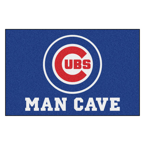 """19"""" x 30"""" Blue and White Contemporary MLB Chicago Cubs Rectangular Mat - IMAGE 1"""