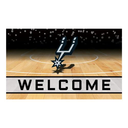 """Brown and Black NBA San Antonio Spurs """"Welcome"""" Rectangular Outdoor Door Mat 18"""" x 30"""" - IMAGE 1"""