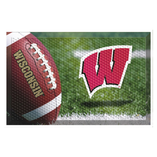 """Red and Green NCAA University of Wisconsin Badgers Shoe Scraper Doormat 19"""" x 30"""" - IMAGE 1"""