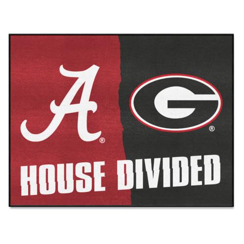 """33.75"""" x 42.5"""" Red NCAA Alabama Crimson Tide and Georgia Bulldogs House Divided Rectangular Door Mat - IMAGE 1"""