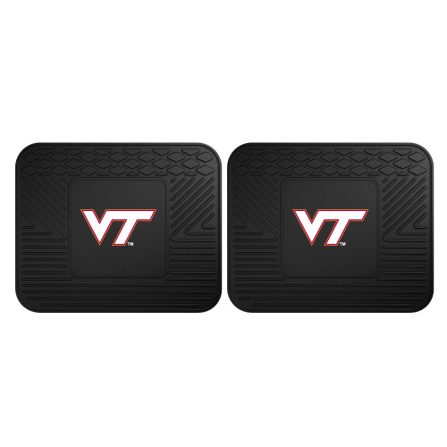 "Set of 2 Black NCAA Virginia Tech Hokies Heavy Duty Rear Car Floor Mats 14"" x 17"" - IMAGE 1"