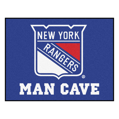 """33.75"""" x 42.5"""" Blue and White NHL New York Rangers """"Man Cave"""" All-Star Rectangular Mat Area Rug - IMAGE 1"""