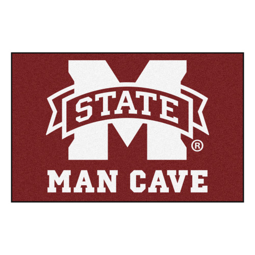 """19"""" x 30"""" Red and White NCAA Mississippi State University Bulldogs Man Cave Starter Mat - IMAGE 1"""