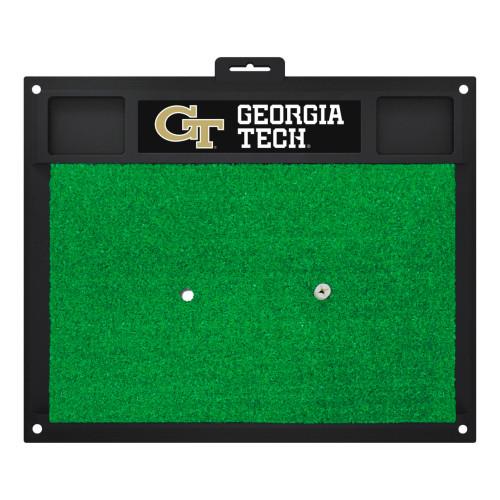 "17"" x 20"" Black and Green NCAA Georgia Tech Yellow Jackets Ramblin Wreck Golf Hitting Mat - IMAGE 1"