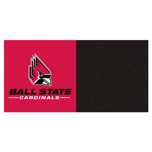 "20pc Pink and Black NCAA Ball State University Cardinals Squares Team Carpet Tile Flooring 18"" x 18"" - IMAGE 1"