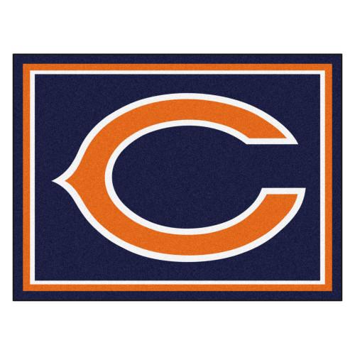 7.25' x 9.75' Orange and White NFL Chicago Bears Plush Non-Skid Area Rug - IMAGE 1