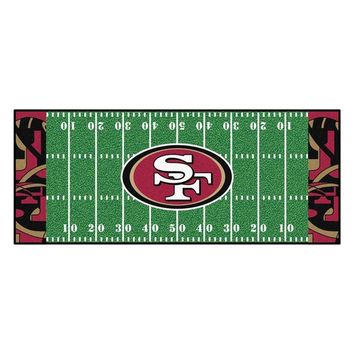 "30"" x 72"" Green and White NFL San Francisco 49ers Rectangular Mat Area Rug Runner - IMAGE 1"