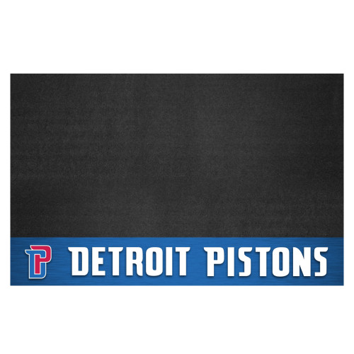 """26"""" x 42"""" Black and White NBA Detroit Pistons Grill Outdoor Tailgate Mat - IMAGE 1"""