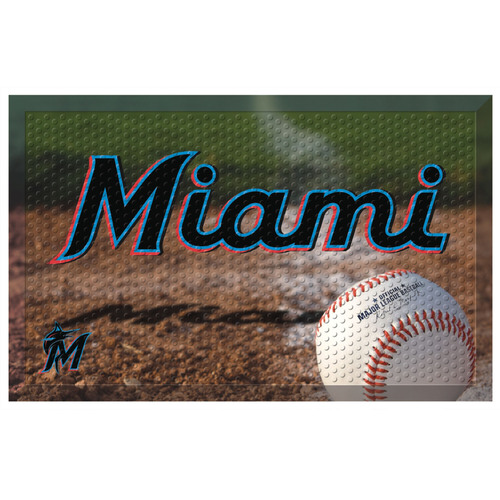"Blue and Brown MLB Miami Marlins Shoe Scraper Doormat 19"" x 30"" - IMAGE 1"