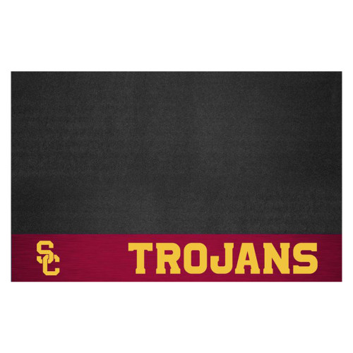 """26"""" x 42"""" Black and Yellow NCAA Trojans Grill Mat Tailgate Accessory - IMAGE 1"""