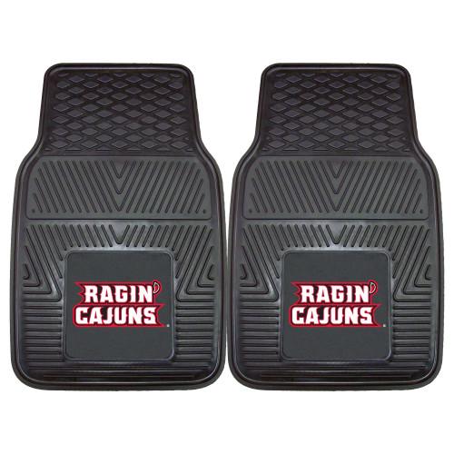 "Set of 2 Black NCAA University of Louisiana-Lafayette Ragin Cajuns Car Mats 17"" x 27"" - IMAGE 1"